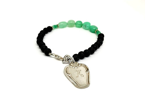 Silverware Charm Bracelet with Chrysoprase stone and Lava Beads