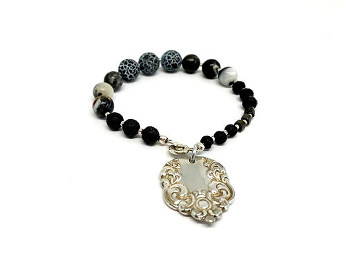 Silverware Charm Bracelet with Lava Beads and Cracked Black Agate