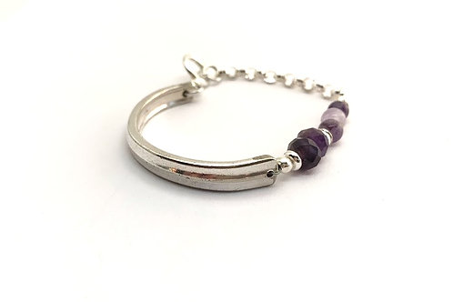 Signature Bracelet with Amethyst and Lava Beads