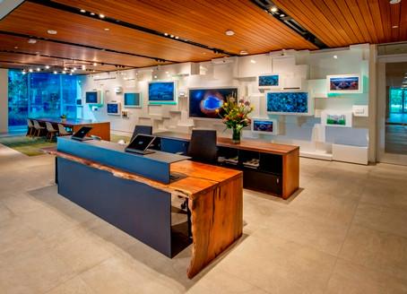 Lamboo® Rainscreen™ in Hewlett-Packard Lobby & Reception Areas