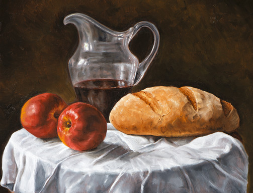 Painting of Apples and Bread