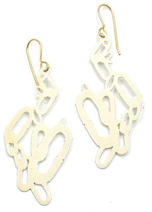 """Eggshell Chain Pattern Earrings (2 1/4"""" drop)"""