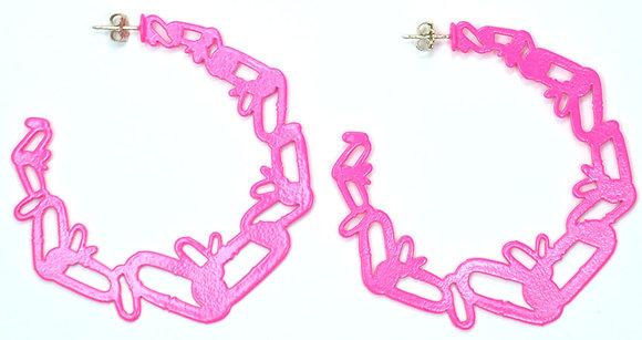 """Neon Pink Hoop Earrings (2 1/4"""" diameter)"""