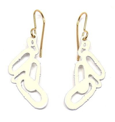 "Eggshell Chain Pattern Earrings (1 1/2"" drop)"