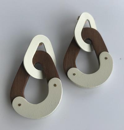 Post Drop Earrings, Walnut & Brass