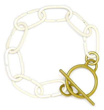 Eggshell & Gold Toggle Bracelet
