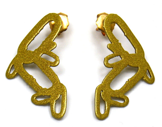 "Gold Chain Pattern Post Earrings (1 1/4"" length)"