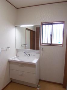床暖房の洗面脱衣室には900の洗面化粧台