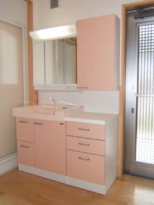 脱衣洗面コーナーは外の洗濯干し場へ出られます