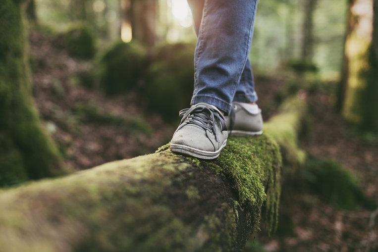 Woman walking on a log in the forest and