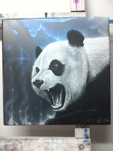 Panda  - 2017 / Hand-painted / airbrushed / metallic paint