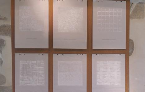 """""""R.G.P.P"""" monotypes sur papier journal, liège et géraniums"""