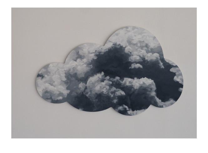"""""""Sans titre, nuage*1"""" contre plaqué, peinture à l'huile"""