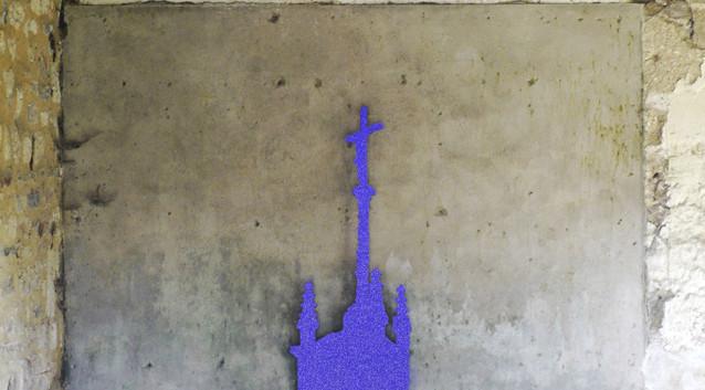 """""""Milky way"""" acier découpe laser et peinture glitter"""