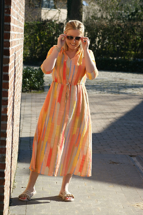 53661 Lange jurk met gekleurde blokjes print Thelma & Louise
