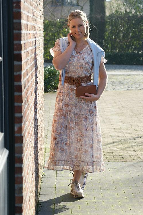 54547 Lange jurk met beige/blauwe bloemenprint (inc. riem) Senso