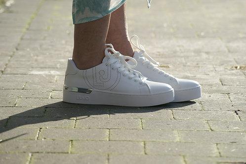 54086 Witte sneaker met zilver accent en logo LIU JO