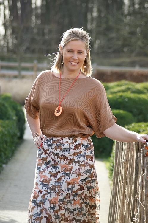 54176 Bruine blouse in subtiele zebraprint halflange mouw Xandres
