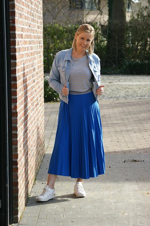 54190 Lange cobaltblauwe plissé rok Xandres