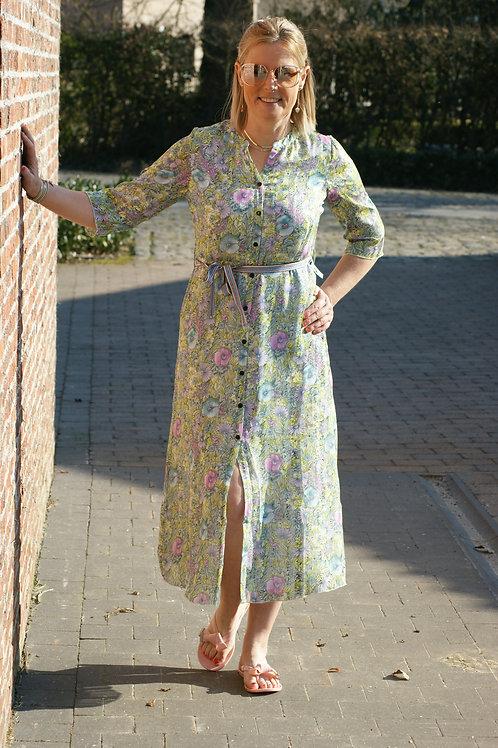 54357 Lange jurk met fijne bloemenprint Dame Blanche