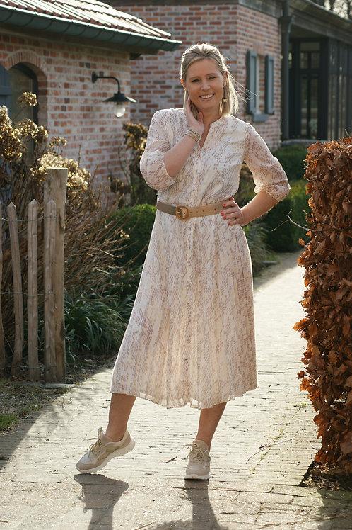 54479 Lange feestelijke jurk (inclusief riem) met snake-print in rosé goud Atmos