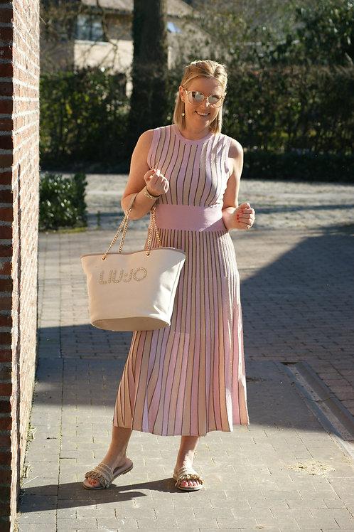54074 Roze missoni jurk met glitter LIU JO