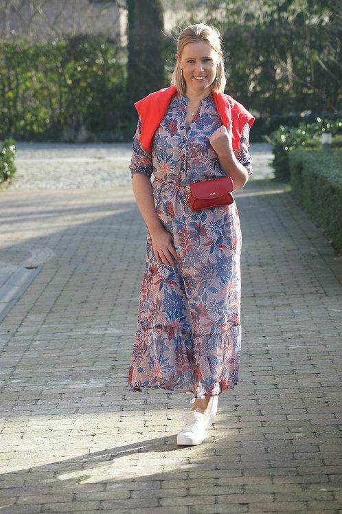 54993 Lange jurk met blauw/rode print Punto