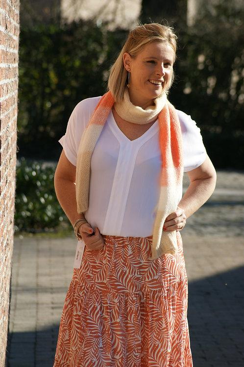 54465 Witte blouse stretch kwaliteit met v-hals Gigue