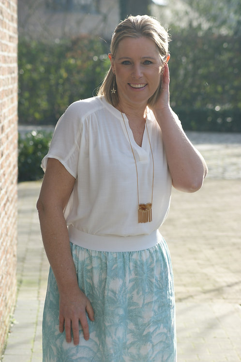 54322 Witte zachte blouse korte mouw Her.