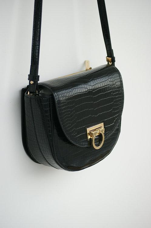 Zwarte handtas met gouden details Xandres 54689