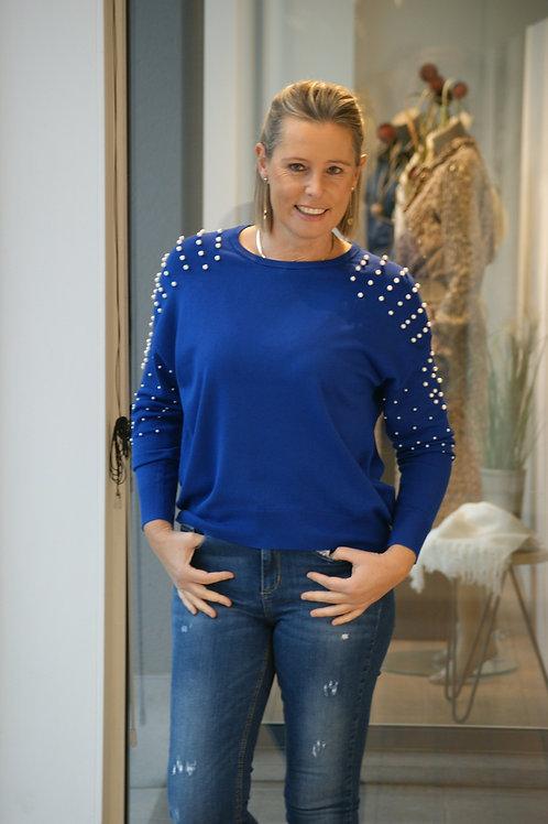 Cobaltblauwe trui met parels Esqualo 53183