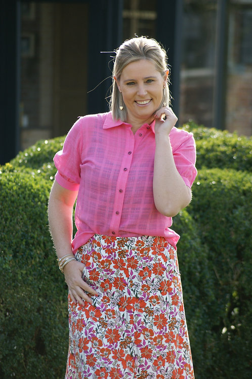 54215 Roze knoop-blouse met glinster Marie Méro