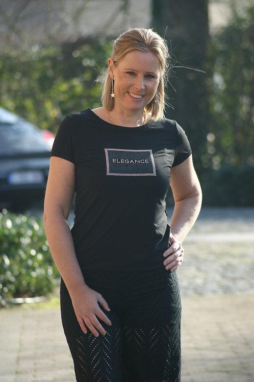 "53281 Zwarte t-shirt ""Elegance"" Comma"