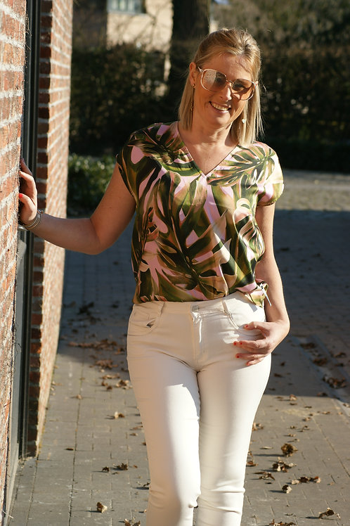 54354 Roze blouse met groene palmbladeren Dame Blanche