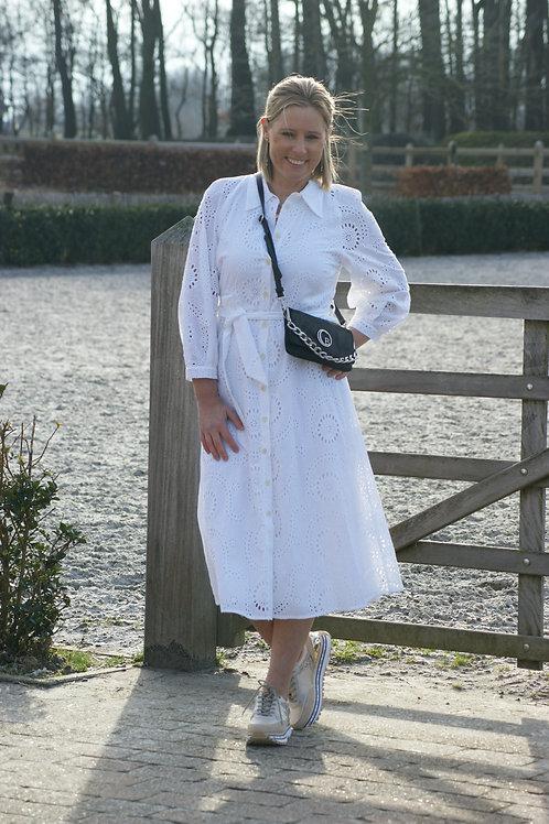 54313 Witte lange jurk in kant Her.