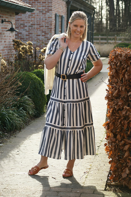 54500 Lange jurk met blauwe strepen (inclusief riem) Atmos