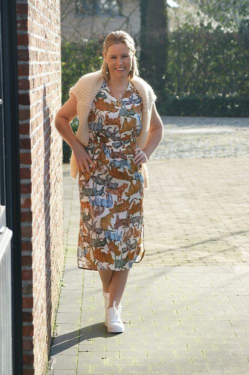 54318 Midi jurk met gekleurde tijgerprint Her.