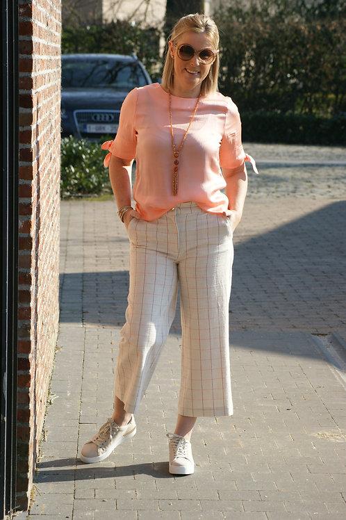 53678 Culotte broek met fijne roze streep Thelma & Louise
