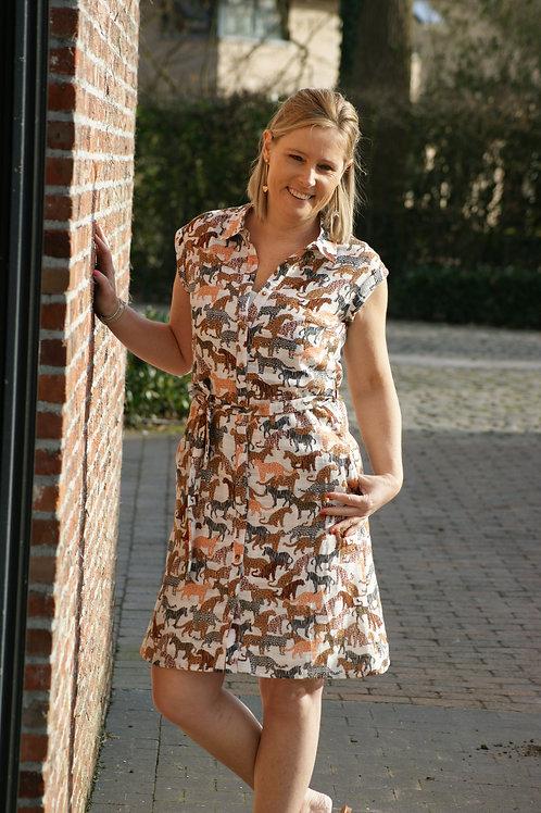 54220 Korte jurk met safariprint in linnen kwaliteit Marie Méro