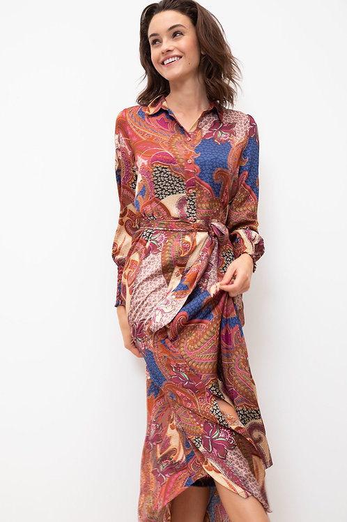 Lange jurk met bohemian print Terre Bleue 53242