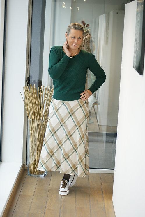 Lange rok met beige ruiten in fijne stof Marie Méro 54709