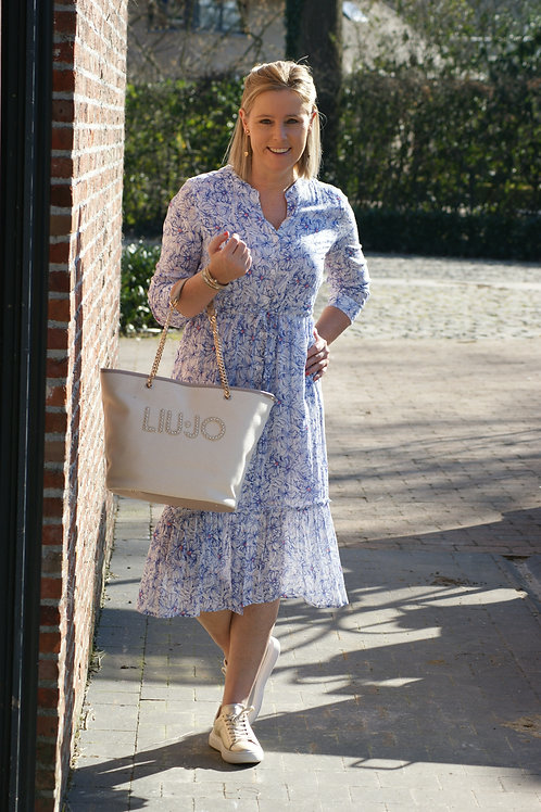 54820 Lange jurk met fijn blauw printje Avalanche