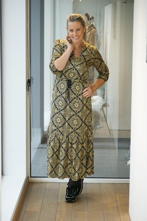Lange jurk met gouden print Dame Blanche 51973