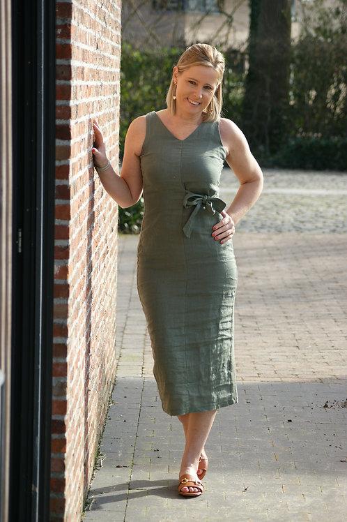 54966 Lange stijlvolle jurk met strik in kaki Punto