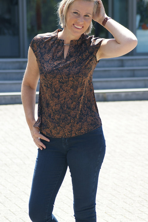 Open blouse met snake-print Comma 52114