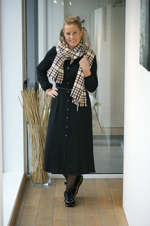 Lang zwart doorknoop kleed met riem Kocca 52310