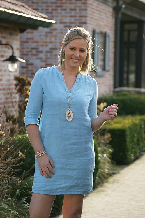 53583 Lichtblauw linnen jurk Punto