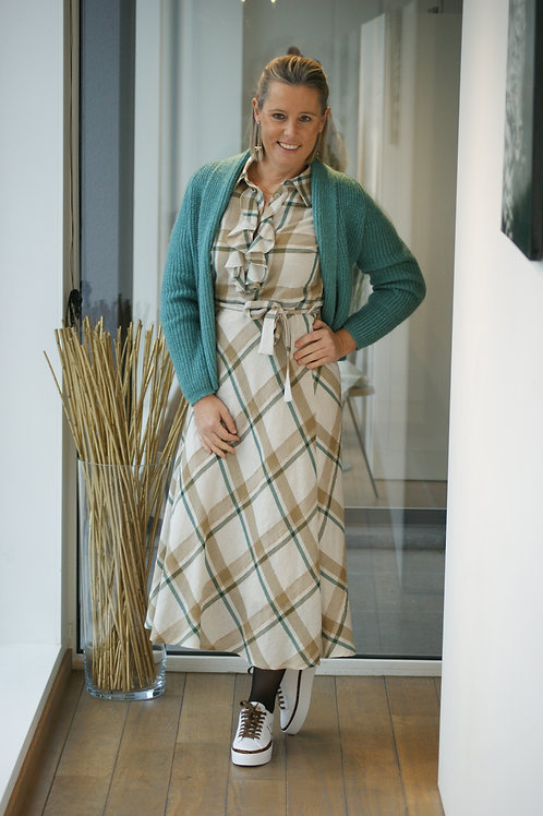 Lange jurk met beige ruiten in fijne stof Marie Méro 54708