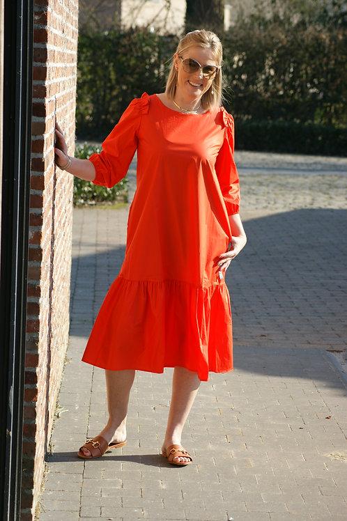 54346 Halflange jurk koraalrood in katoen Dame Blanche