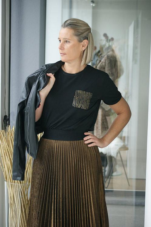 Zwarte t-shirt met detail in strass LIU JO 52435